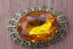 Gold Toned Filigree & Orange Paste Womens Brooch Circa 1910-1920 Fashion Jewelry