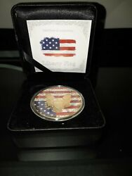 2016 U.s. Liberty Flag .999 Silver One Dollar 24k Gold Finish Coin And039d 311/500