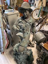 Cast Bronze Signed Thunder Huckleberry Finn Pool Fountain 4andrsquo Tall X 20andrdquo 150 Lbs+