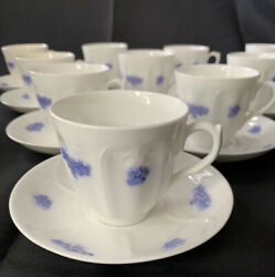 Adderley Blue Chelsea Smooth Embossed Set Of 11 Cups And Saucers Lot M