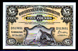Gibraltar P19b 1971 Five 5 Pound Ultra Gem Uncirculated Bank Note Currency