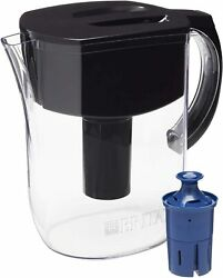 Water Pitcher with 1 Longlast Filter Large 10 Cup BlackBPA Free Space Effecient