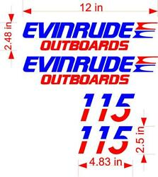 4 Pack Evinrude Outboard Decals Stickers Graphics With Hp Numbers Customizable