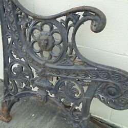 Antique Victorian Cast Iron Park Bench Table Pieces Lion Head Heavy And Rare Rust