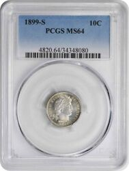 1899-s Barber Silver Dime Ms64 Pcgs