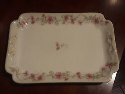 New York Central Lines Floral Limoge Serving 11 X 7 5/8 Railroad China