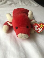New TY Beanie Baby Snort The Bull 1995 Retired Rare 12 Tag Errors Numeric Date