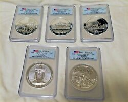 2010 Atb Silver 5 Oz Set - Pcgs First Strike Flag Label All 5 Parks For 2010