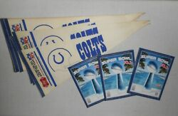 Vintage Indianapolis Colts Nfl Pennant Flags 14 And Sb Programs 3 Lot