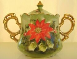 Vintage Lefton China Poinsettia Sugar Bowl With Lid Gold Trim 4384 Hand Painted