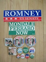 Lot Of 11 Vintage Political Campaign Pinback Buttons + 2 Bumper Stickers