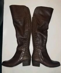 Vince Camuto Bolina Leather Over The Knee Fitted 2 Tone Antique 6.5 M Wide Calf