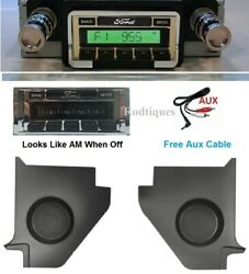 1964-65 Falcon Hardtop Stereo Radio + Kick Panels W/ Speakers + Aux Cable 230