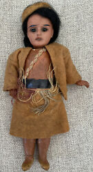 Antique Armand Marseille 7 Indian Doll Bisque Head Compo Body Mh 200