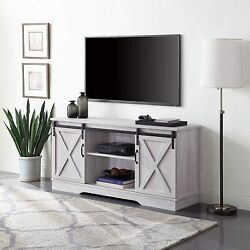 Modern Farmhouse 58 Sliding Tv Stand Console With Storage For Tvs, Unique, Oak
