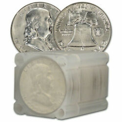 10 Roll1961 Franklin Half Dollars Brilliant Uncirculated 90 Silver Beautyand039s