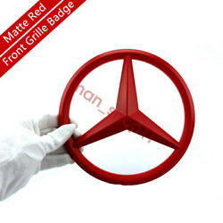 Red Front Grill Add On 3d Logo Badge Emblem Upgrade Amg Sport Style For Mercedes