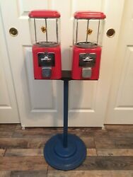 Vintage Double Acorn Gumball Candy Machine + Stand + Keys -- Five Cents Nickel