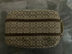 Coach Cosmetic Toiletry Bag Brown Jacquard Signature Small C  $55.00