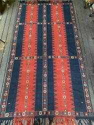 19th Century Caucasian Azeri Kilim 74in X 141in Gorgeous Highly Collectible