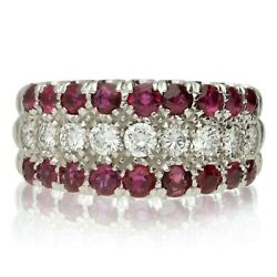 Pre-owned 18ct White Gold Ruby And Diamond 3 Row Ring