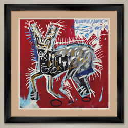 35wx35h Red Rabbit By Jean-michel Basquiat - Double Matte, Glass And Frame
