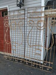 Vintage English Garden Gates With 4-seperate Sectionand039s Of Fencing