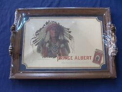 Vintage Albert Chief Joseph Glass Mirror Serving Tray Rare Sealed 1980and039s