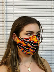 Xxl Face Mask Flames Double Layer Reusable Washable Unisex Made In The Usa