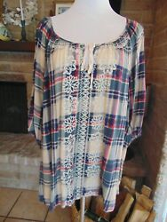 One World Women's 3X Tunic Top Plaid Embroidered Short Sleeve tie front Cute! $16.50