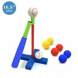 16.5 Kids Foam T Ball Baseball Set Toy For Toddlers 8 Different Colored Balls