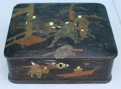 Vintage Antique Japanese Hand Painted Gold On Black Lacquer Trinket Jewelry Box