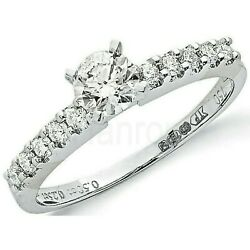 Certificated Diamond Solitaire Ring 18 Carat White Gold British Made 0.75ctw