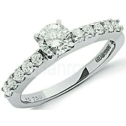 Certificated Diamond Solitaire Ring 1 Carat 18 Carat White Gold Large Sizes R-z