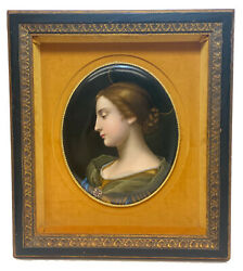 Kpm Germany Hand Painted Porcelain Plaque Beauty With Halo Late 19th C