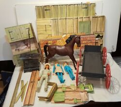 Vintage Action Figures Wagon And Cardboard Marx Johnny West Circle X Ranch As Is