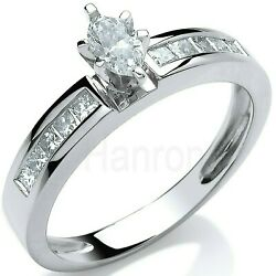 Certificated Marquise Diamond Solitaire Ring 18k White Gold Large Sizes R - Z