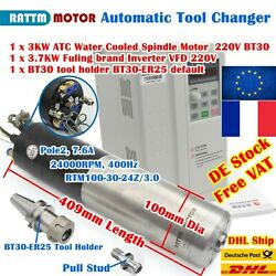 【fr】3.7kw Vfd+3kw 220v Atc Automatic Tool Change Water Cooled Spindle Motor Bt30