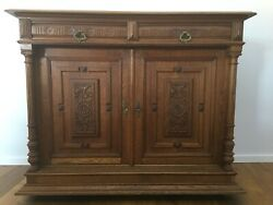 Antique Oak Sideboard From Germany, Restored Approx.1890, Historicism