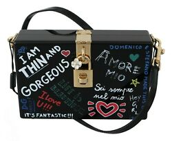 Dolce And Gabbana Bag Purse Hand Painted Wooden Black Box Sicily Leather Rrp 2600
