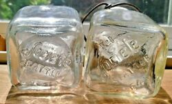 Lot Of 2 Vintage Societe Seattle Candy Store Clear Glass Jars