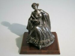Antique Statue Liberty Sculpture Lady IN Terracotta Silver Plated Signed