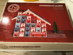 Pre Lit Traditional Wooden Christmas LED Advent Calendar Decoration with Drawers