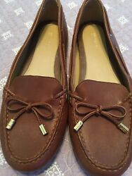 Womens Michael Kors Brown Leather Slip On Flats Loafers Shoes 9.5 $16.00