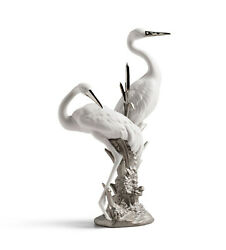 Lladro Courting Cranes Sculpture. Silver Lustre 01007104 / 7104