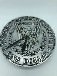 Rare 10 One Silver Dollar Morgan Eagle United States Large Coin Clock Collect