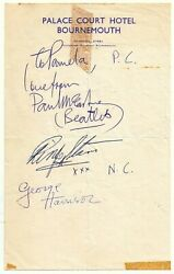 Signed By 3 Of The Beatles Bournemouth August 1963 George Paul Ringo Autographs