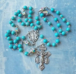 Unique Turquoise And Lampwork Beads Catholic Rosary 3 Way Crucifix Necklaceitaly