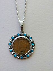 1887 Indian Head Penny Coin Pendant With Turquoise Beads On 24 Chain