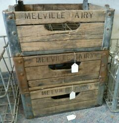 Vintage Melville Dairy Wood And Metal Milk Crate For 20 Half Pint Glass Bottles